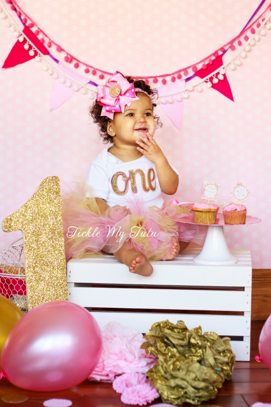Elegant Pink and Gold Glitter Birthday Tutu Outfit