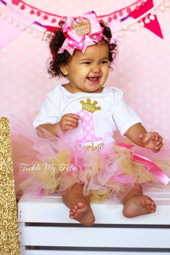 Pink and Gold Birthday Princess Crown Tutu Outfit