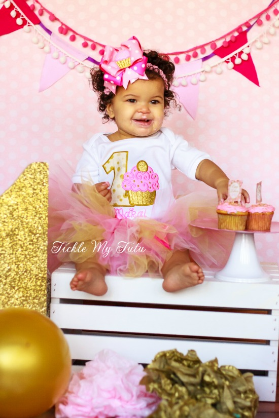 Pink and Gold Birthday Cupcake Tutu Outfit