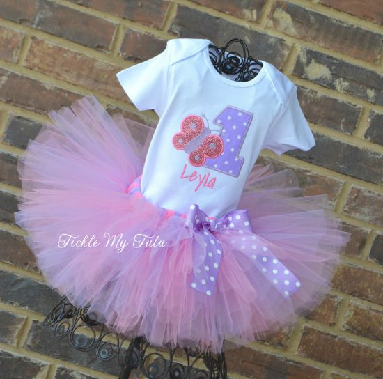 Butterfly Themed (Pink and Lilac) Birthday Tutu Outfit