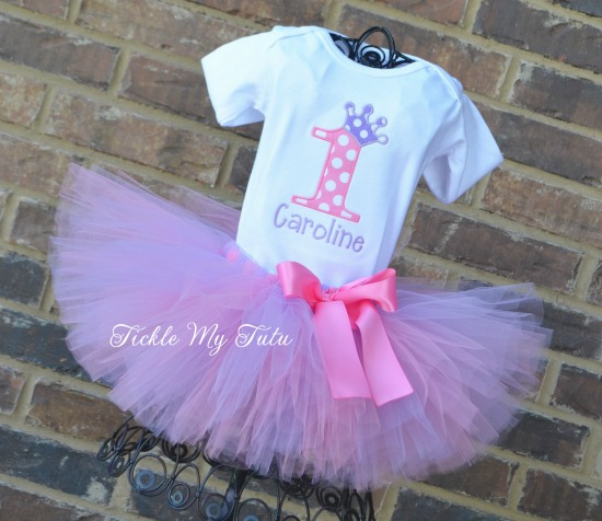 "Pink and Lilac Birthday Crown ""Caroline"" Tutu Outfit"