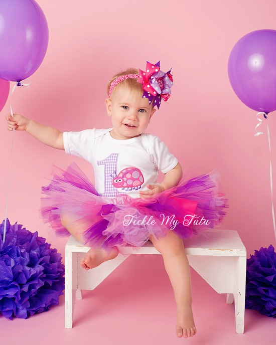 Pink and Purple Ladybug Birthday Tutu Outfit (Lilac Gingham Number)