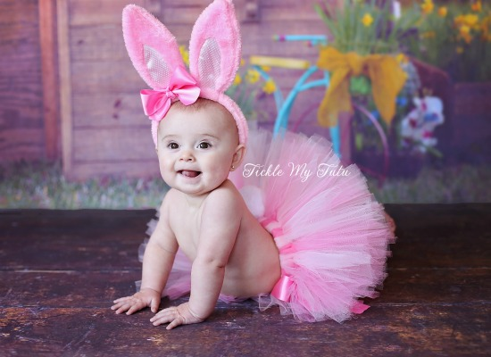 Little Bunny Tutu Costume (Pink and Light Pink Tutu with Pink Ears)