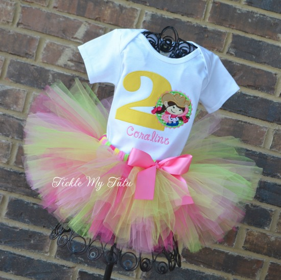Pink Cowgirl Themed Birthday Tutu Outfit