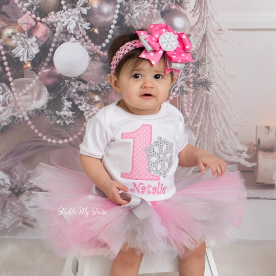 Winter ONEderland Pink Polka Dot Snowflake Birthday Tutu Outfit (Natalie)