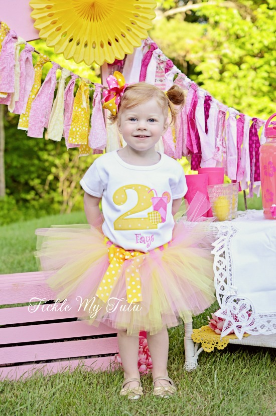"Pink Lemonade ""Faye"" Birthday Tutu Outfit (pink and yellow)"