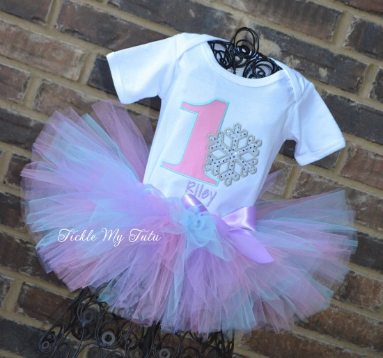 """Winter ONEderland Pink, Aqua, and Lilac """"Riley"""" Snowflake Birthday Tutu Outfit"""