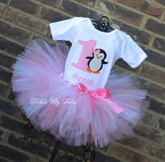 Pink Penguin Themed Winter ONEderland Birthday Tutu Outfit
