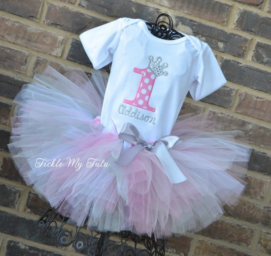 "Pink Polka Dot and Silver Birthday Number Crown ""Addison"" Tutu Outfit"