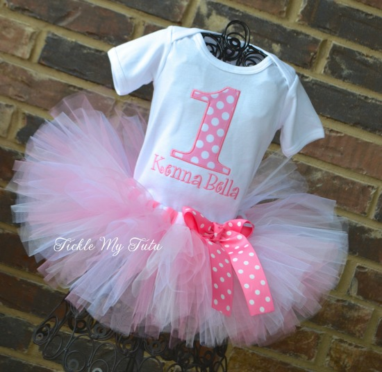 Pink Polka Dot Birthday Number Tutu Outfit