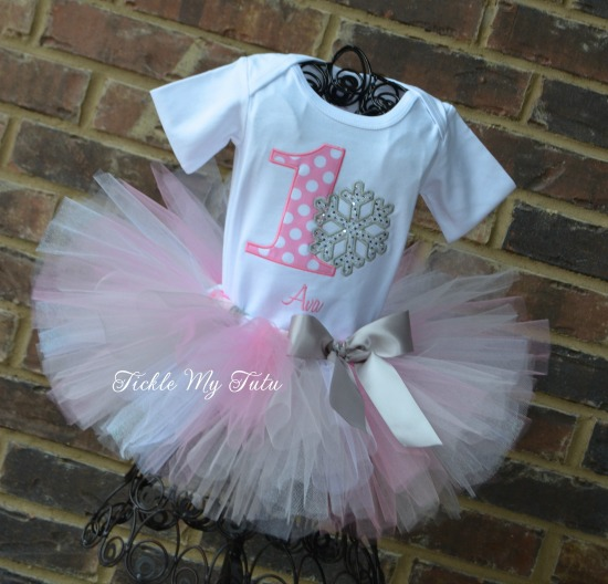 Winter ONEderland Pink Polka Dot Snowflake Birthday Tutu Outfit