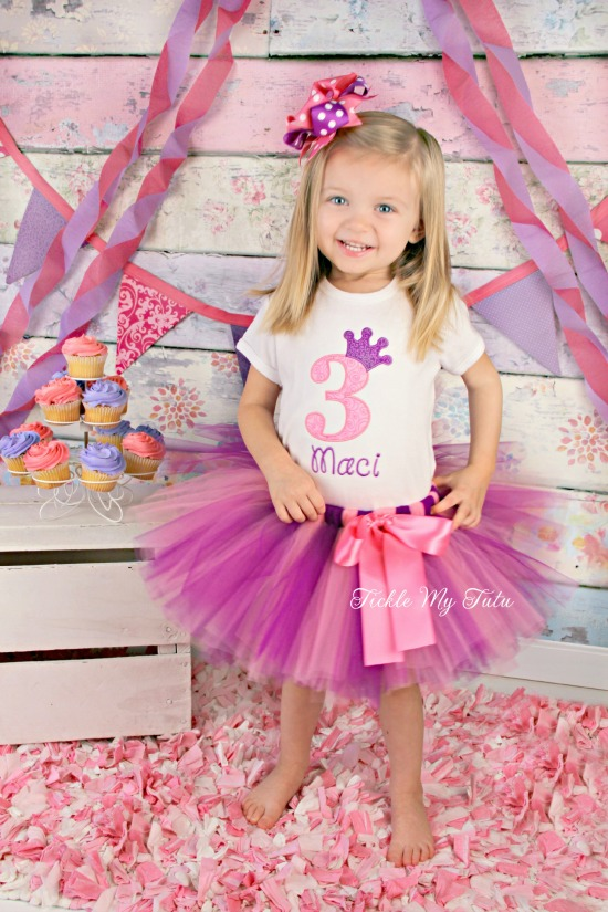 "Pink and Purple Birthday Crown ""Maci"" Tutu Outfit"