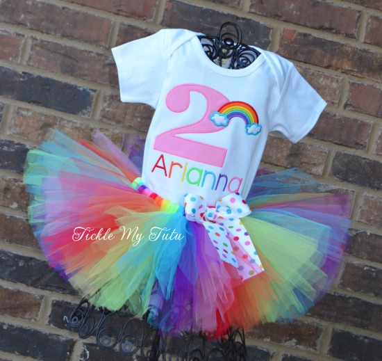 Over the Rainbow Birthday Number Tutu Outfit (Pink Number)