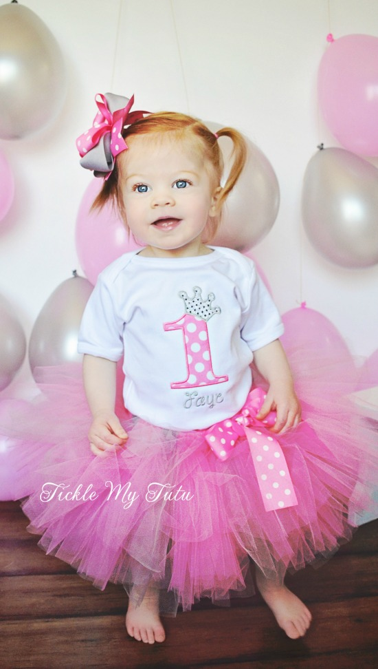"Pink Polka Dot and Silver Birthday Number Crown ""Faye"" Tutu Outfit"