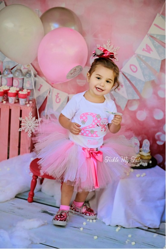 Winter ONEderland Pink Polka Dot Snowman Birthday Tutu Outfit