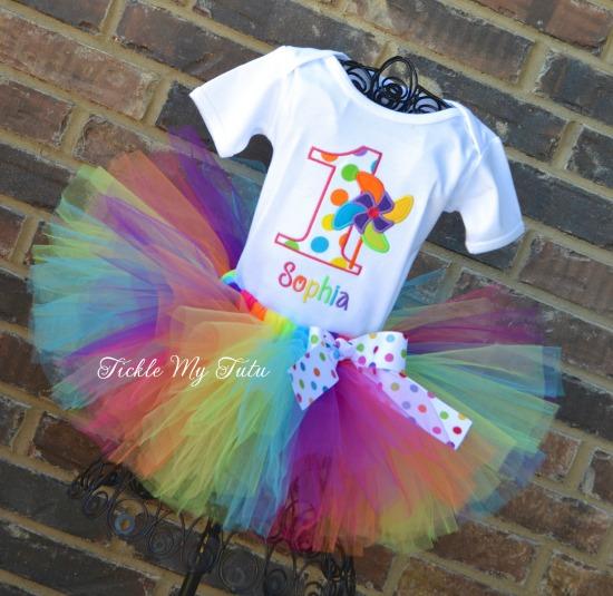 Rainbow Pinwheel Birthday Tutu Outfit