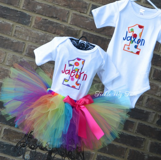 Boy/Girl Twin Polka Dot Party Themed Birthday Tutu Set