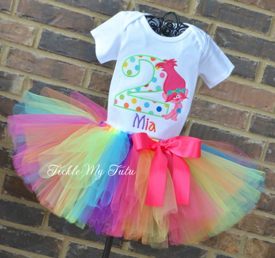 Poppy Troll Birthday Tutu Outfit