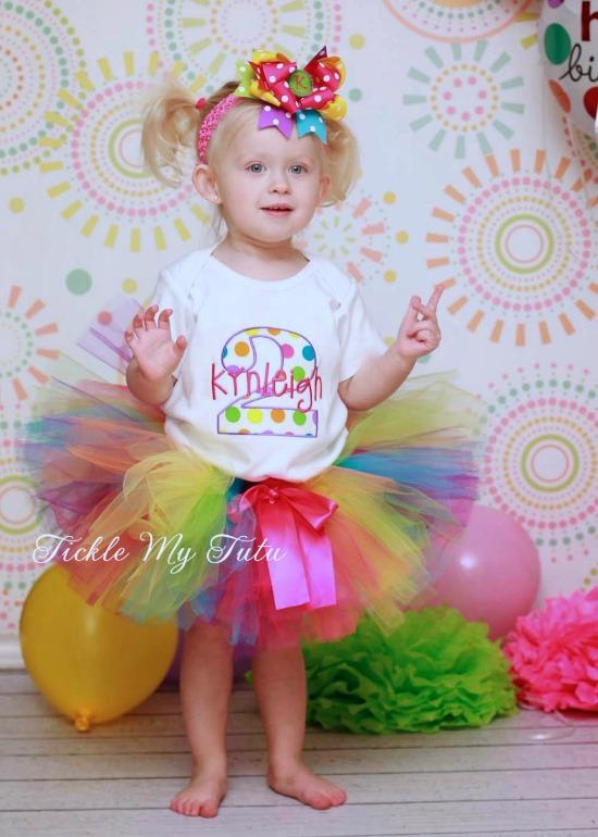 Preppy Polka Dot Birthday Tutu Outfit