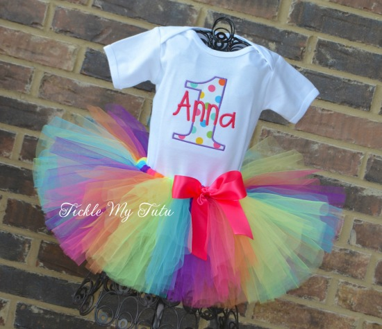 Preppy Polka Dot Birthday Tutu Outfit