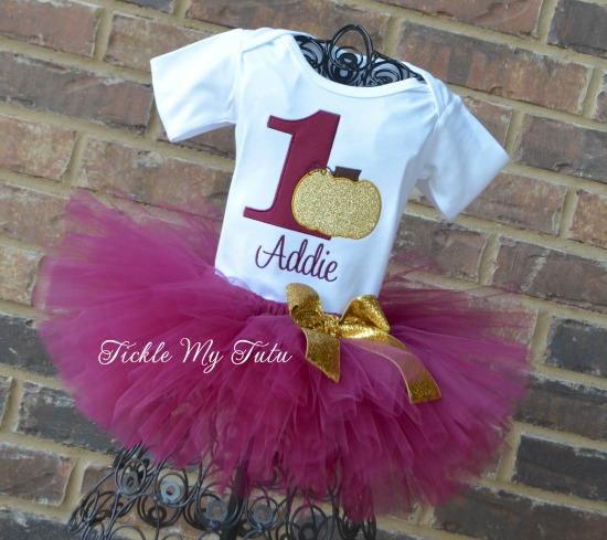 Little Pumpkin Birthday Tutu Outfit (Maroon Number)
