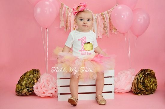 Pink and Gold Little Pumpkin Birthday Tutu Outfit