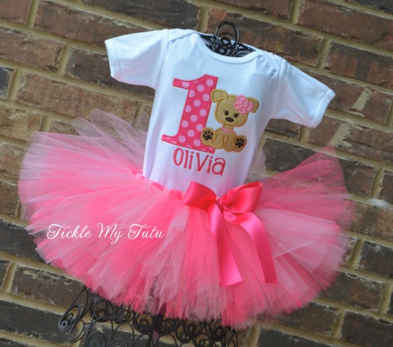 Puppy PAW-ty Birthday Tutu Outfit (Dark Pink and Pink)