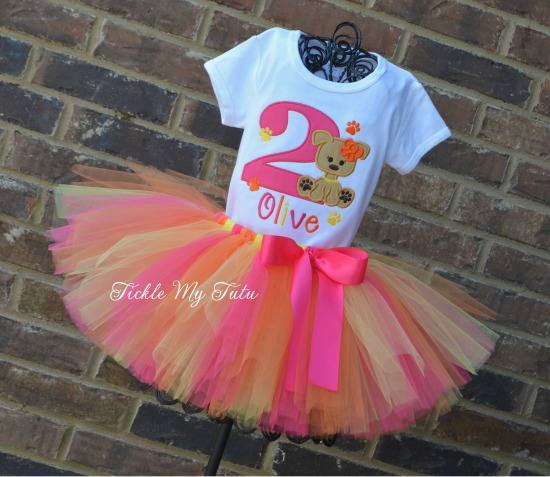 Puppy PAW-ty Birthday Tutu Outfit (Dark Pink, Orange, and Yellow)