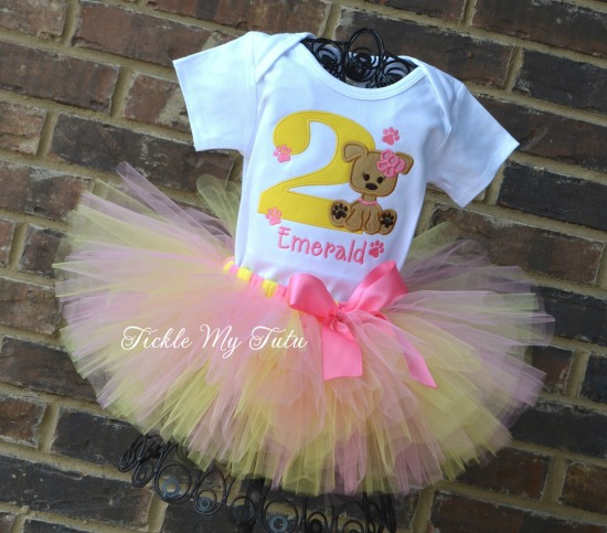 Puppy PAW-ty Birthday Tutu Outfit (Pink and Yellow)