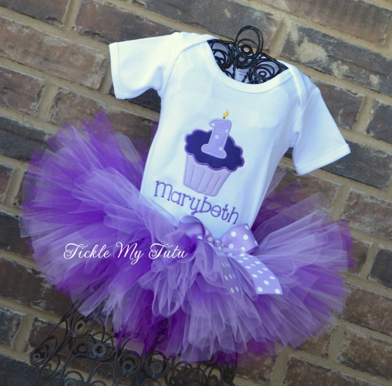 Purple and Lilac Cupcake Number Birthday Tutu Outfit