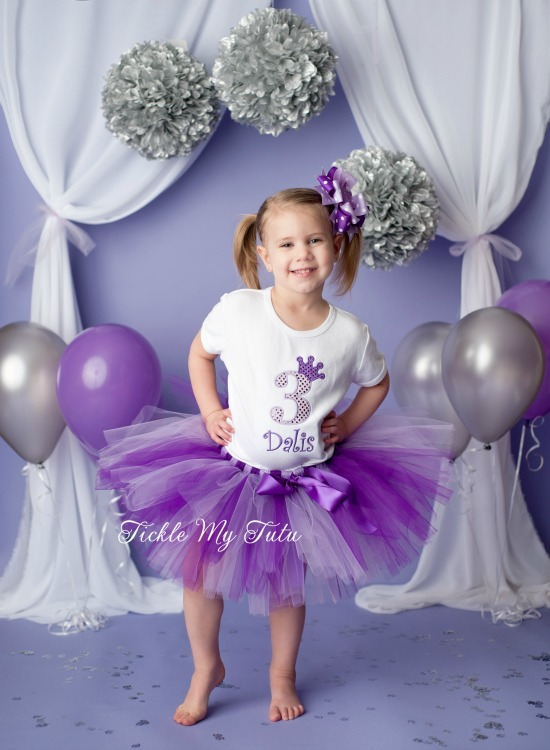 Purple and Lilac Diva Crown Princess Birthday Tutu Outfit