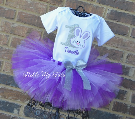 Some BUNNY Is ONE Birthday Tutu Outfit (Silver, Lilac and Purple)