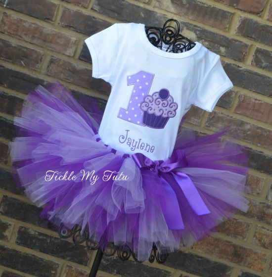 Purple Passion Cupcake Swirl Birthday Tutu Outfit