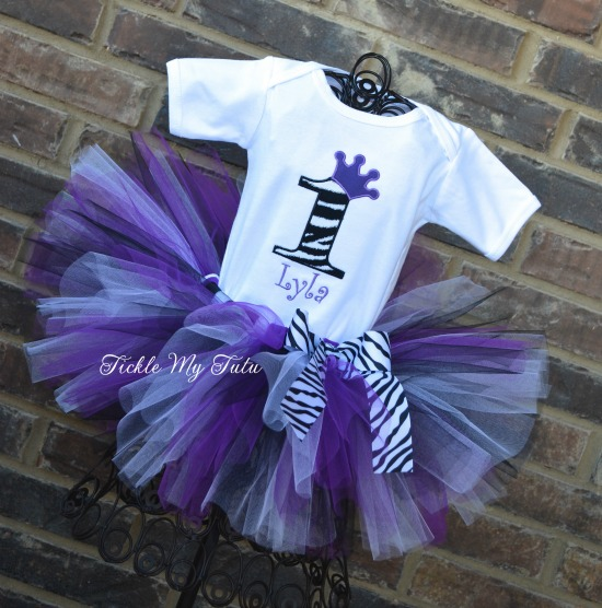 Purple Zebra Print Birthday Crown Tutu Outfit