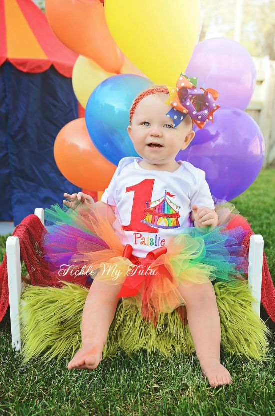 Rainbow Circus Tent with Birthday Number Tutu Outfit
