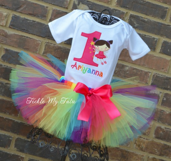 Rainbow Fairy Themed Birthday Tutu Outfit