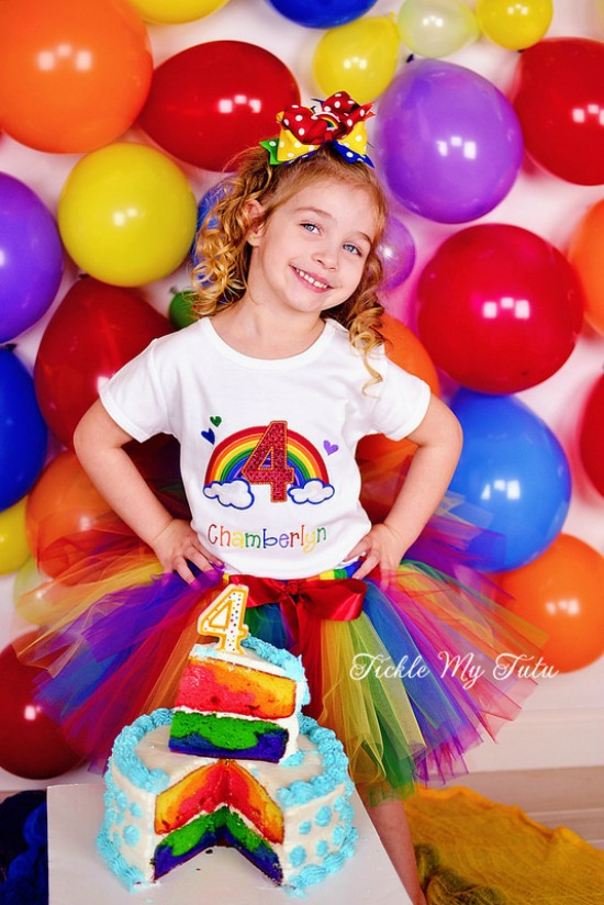 Rainbow Sparkle Number Birthday Tutu Outfit
