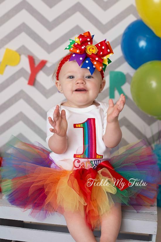 Rainbow Stripes Birthday Number Tutu Outfit
