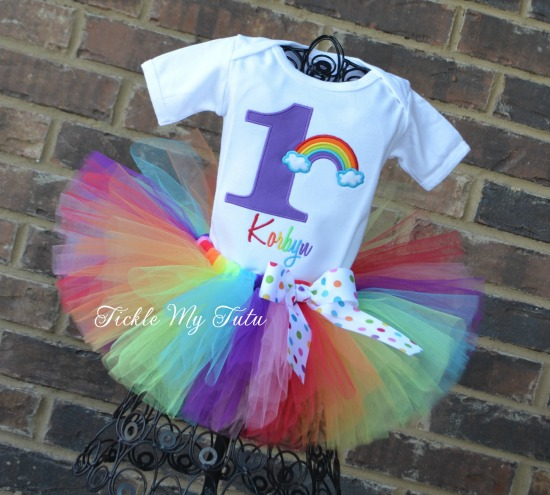 Over the Rainbow Birthday Number Tutu Outfit (Purple Number)