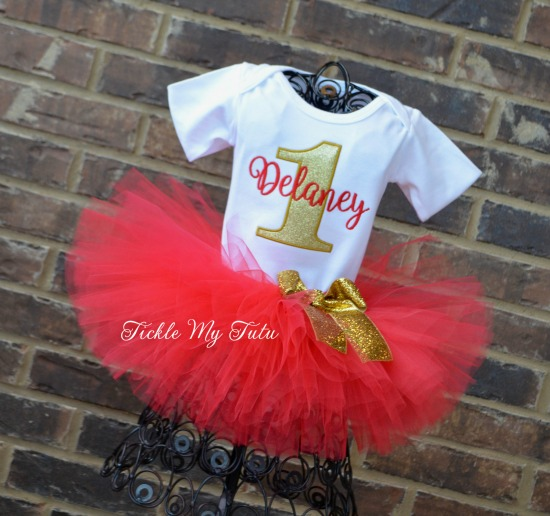 Red and Gold Birthday Tutu Outfit