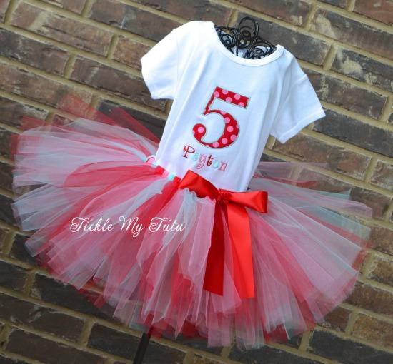 "Red, Pink, and Aqua Polka Dot Number ""Peyton"" Birthday Tutu Outfit"