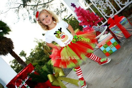 Reindeer Initial or Birthday Number Christmas Tutu Outfit