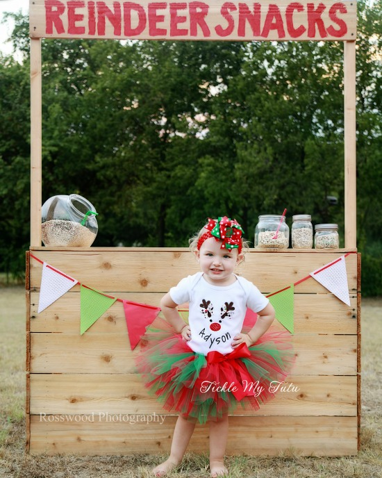 Reindeer Face with Name Mouth Christmas Tutu Outfit