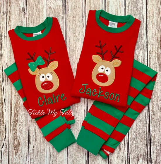 Christmas Pajamas with Crazy Reindeer Design