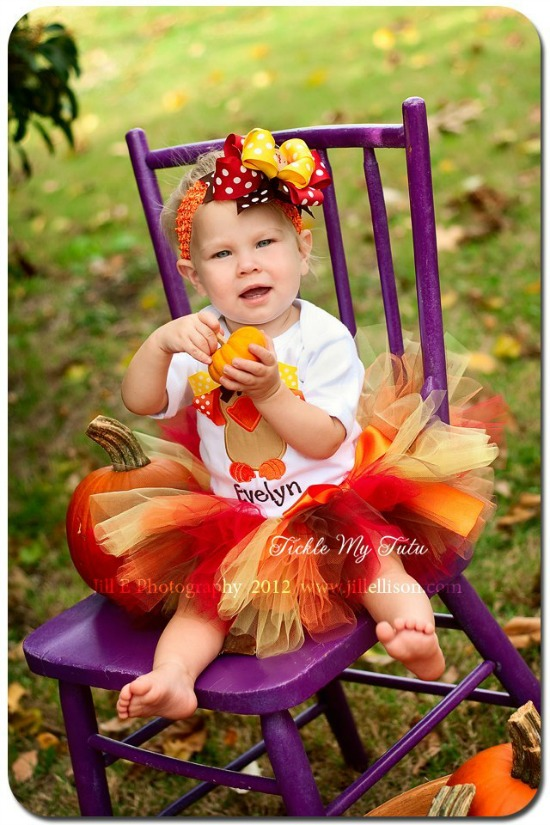 Ribbon Turkey Thanksgiving Tutu Outfit