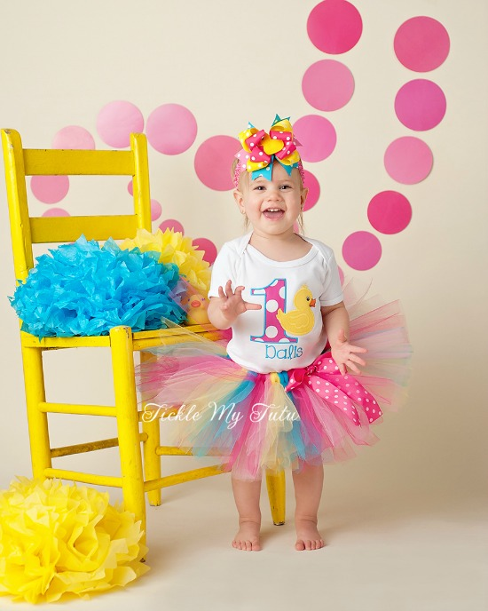 Rubber Ducky (Turquoise) Themed Birthday Tutu Outfit