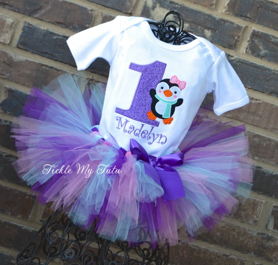 """Penguin Themed Winter ONEderland """"Madelyn"""" Birthday Tutu Outfit (Purple, Aqua, and Pink)"""