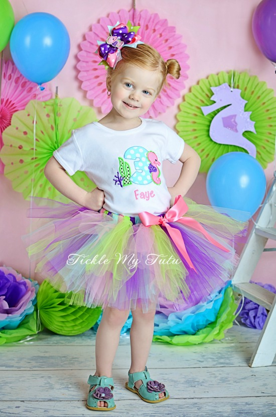 Seahorse Themed Birthday Tutu Outfit
