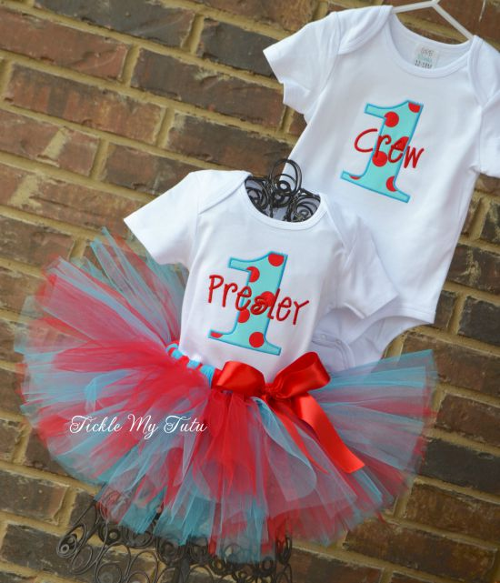 Boy/Girl Twin Silly Dot Party Themed Birthday Tutu Set