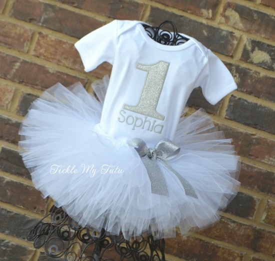 Silver Glitter Birthday Number Tutu Outfit